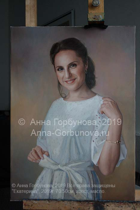 Stage of work 4. Ekaterina. Portrait of a girl. Oil painting on canvas. Artist A. Gorbunova. Private collection, Russia.