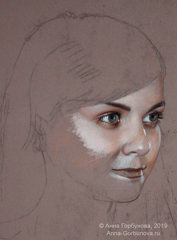 Stage of work 1. Portrait of a girl. paper, pastel. Artist Anna Gorbunova.