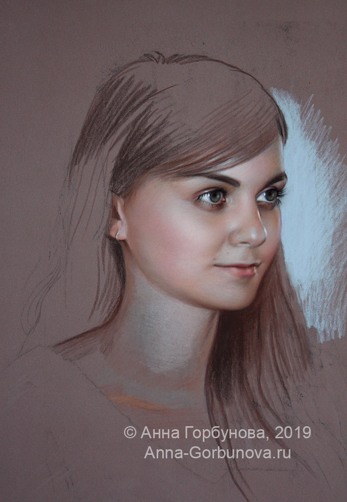 Stage of work 2. Portrait of a girl. paper, pastel. Artist Anna Gorbunova.