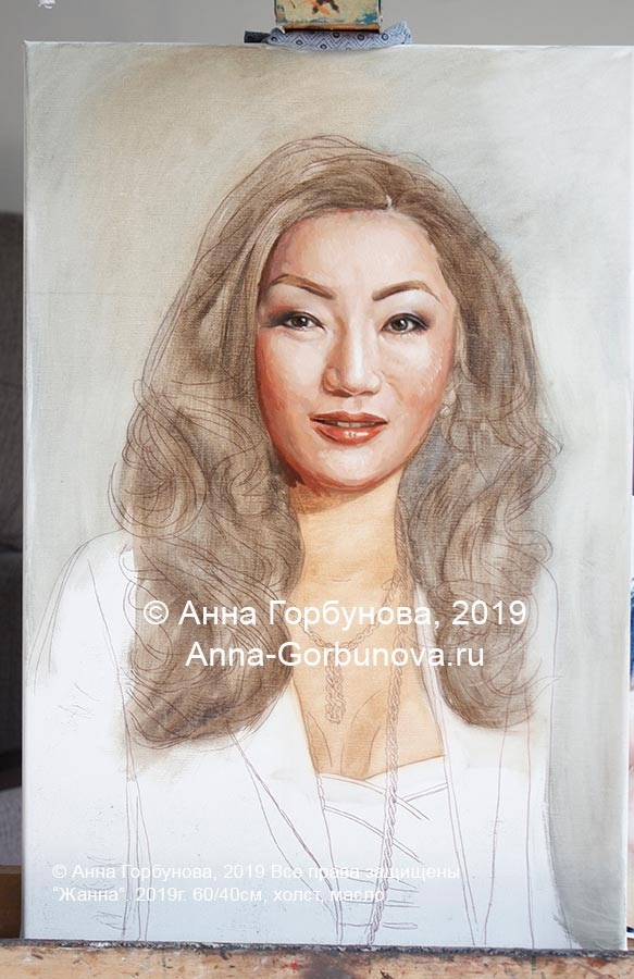 Zhanna, stage of work 2. Artist Anna Gorbunova.
